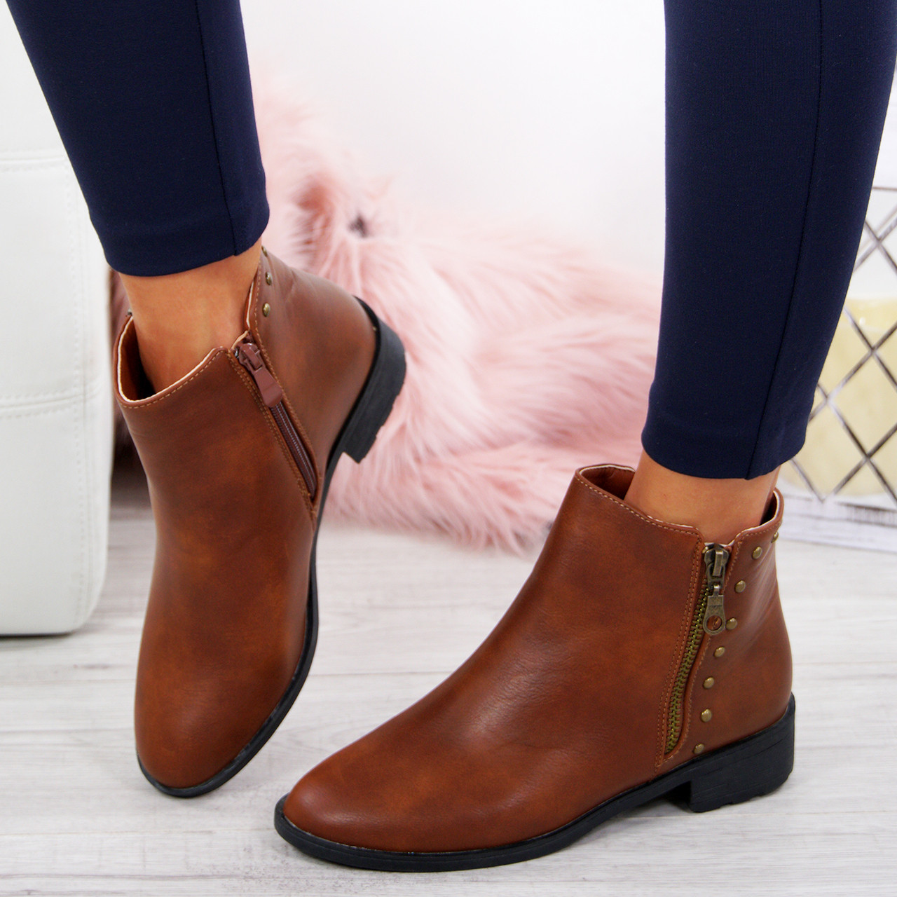 5ed153cc0f9d9 Ladies Ankle Studded Boots Womens Low Block Heel Zip Fastening Winter Shoes  Size