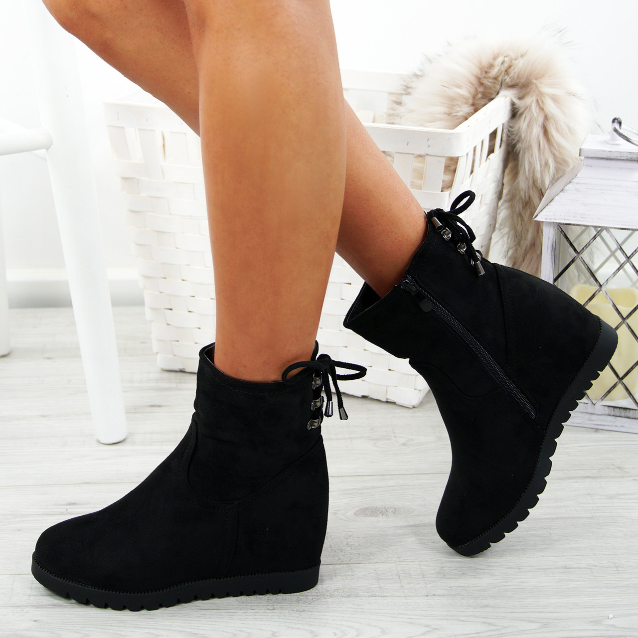 5bc921b917 Ladies Womens Wedge Ankle Boots High Heels Back Lace Zip Casual Winter Shoes