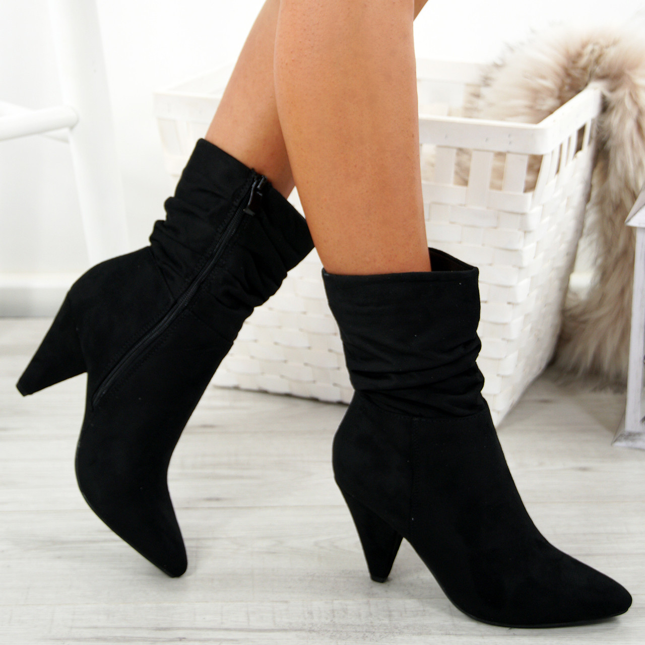 2db0695ecc8 Ladies Womens Ankle Boots Mid Cone Heels Pointy Ruched Baggy Zip Calf Shoes