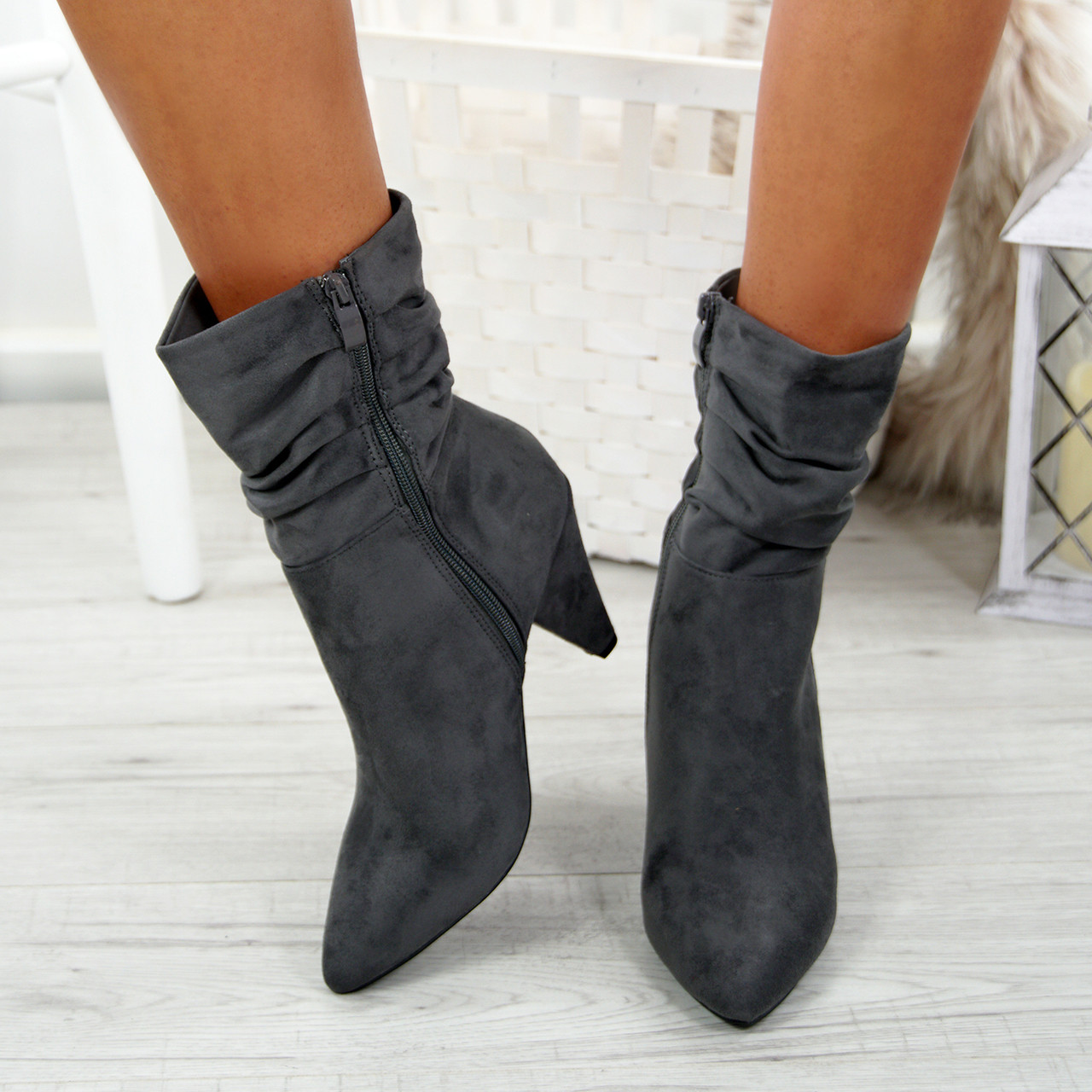 d9905db1aca Dole Grey Cone Heel Ankle Boots