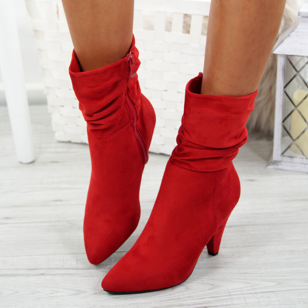 Ankle Boots Mid Cone Heels