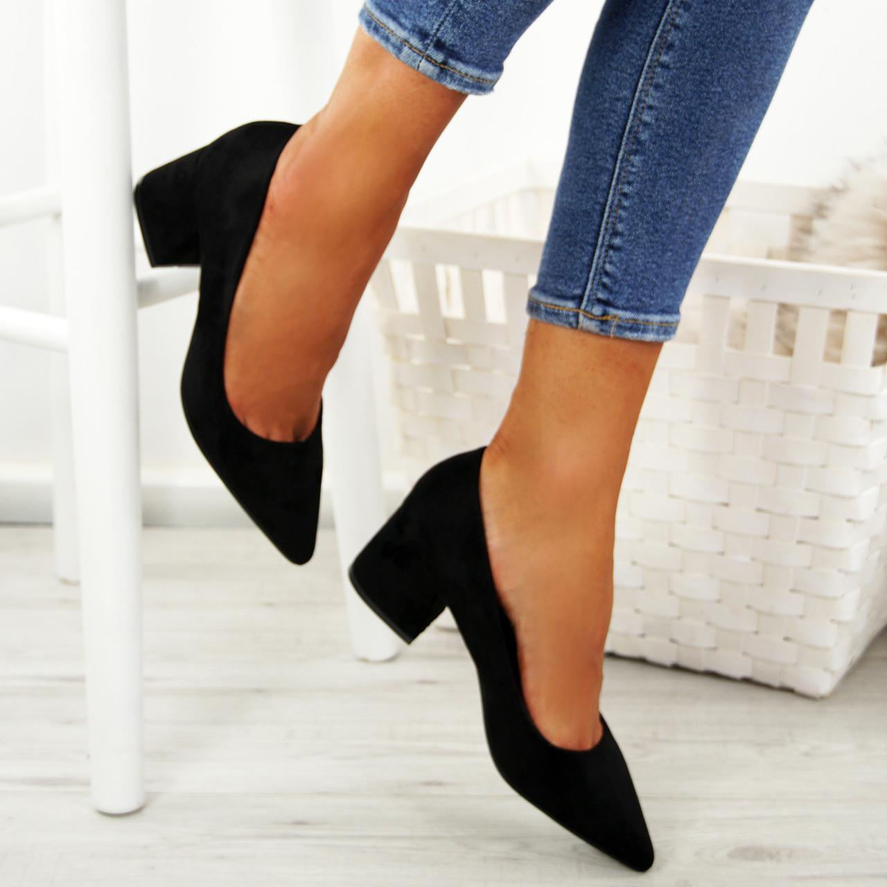 Womens Low Mid Block Heels Court Shoes