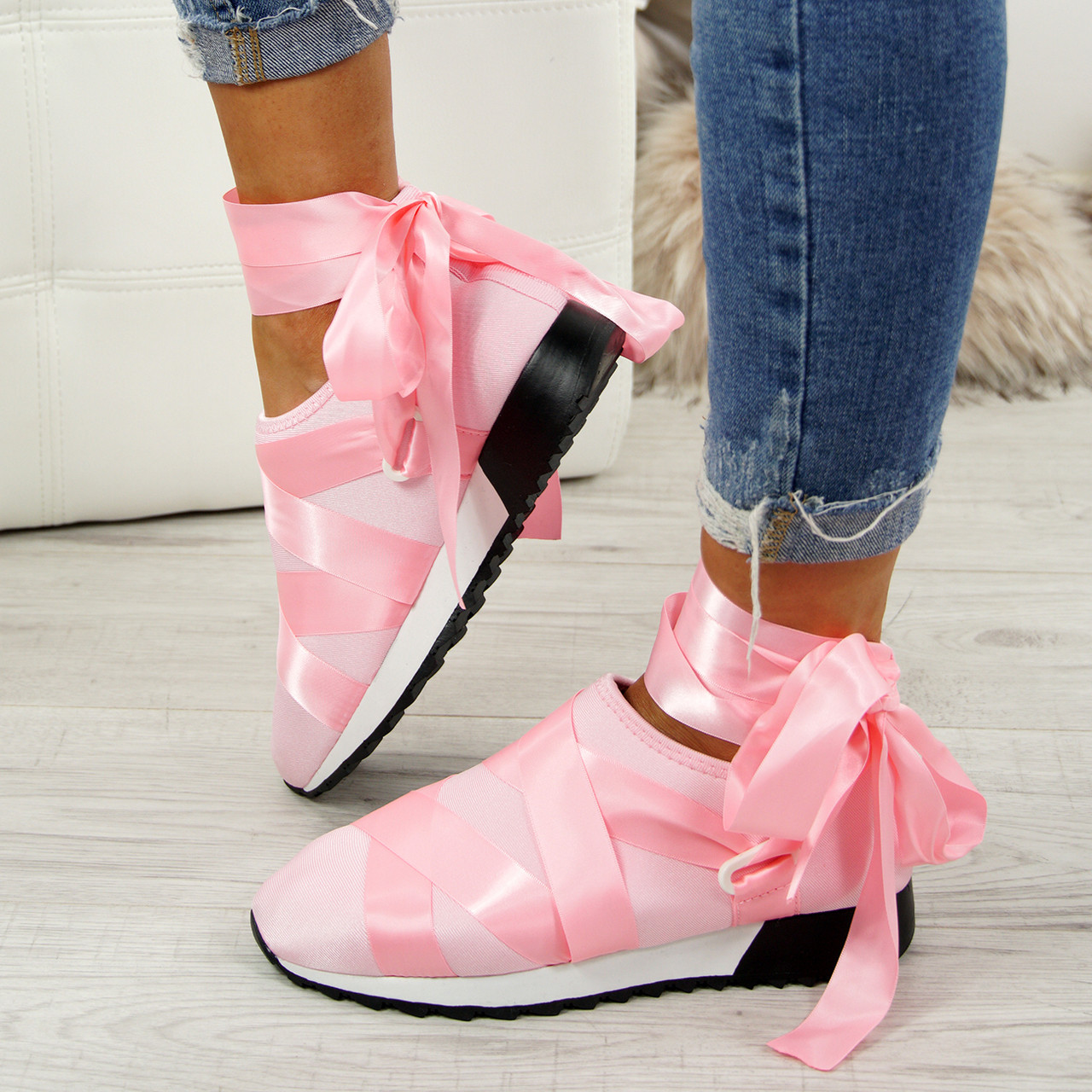 72ecdd2b9bcd2 Loa Blush Lycra Ankle Tie Trainers