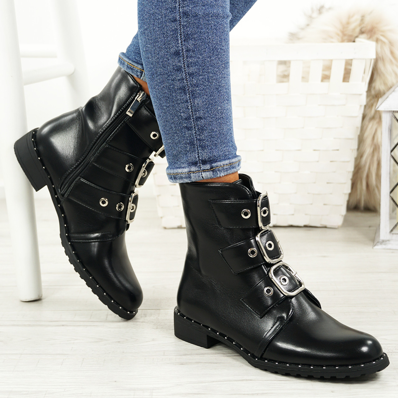 huge inventory compare price first look Leyga Black Pu Biker Ankle Boots