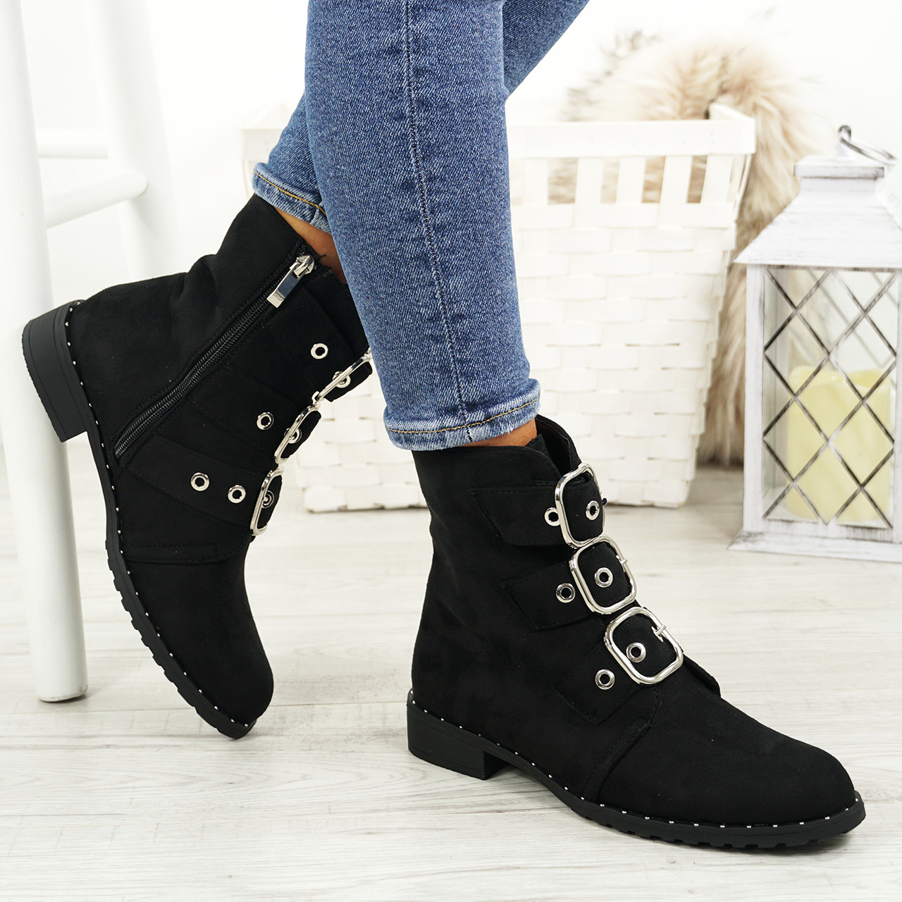 892a3e483a1bb Ladies Womens Biker Ankle Boots Zip Studded Low Heel Comfy Shoes Sizes