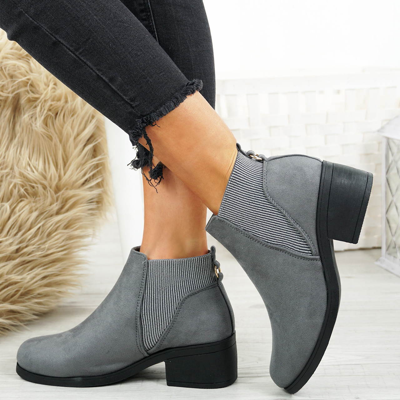 e5bf1b76bc331 Ladies Womens Chelsea Ankle Boots Comfy Elastic Booties Low Block Heel Shoes