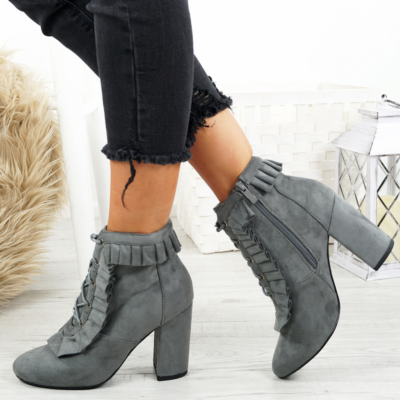 LADIES WOMENS RUFFLE ANKLE BOOTS SIDE ZIP HIGH MID STILETTO HEELS FASHION SHOES