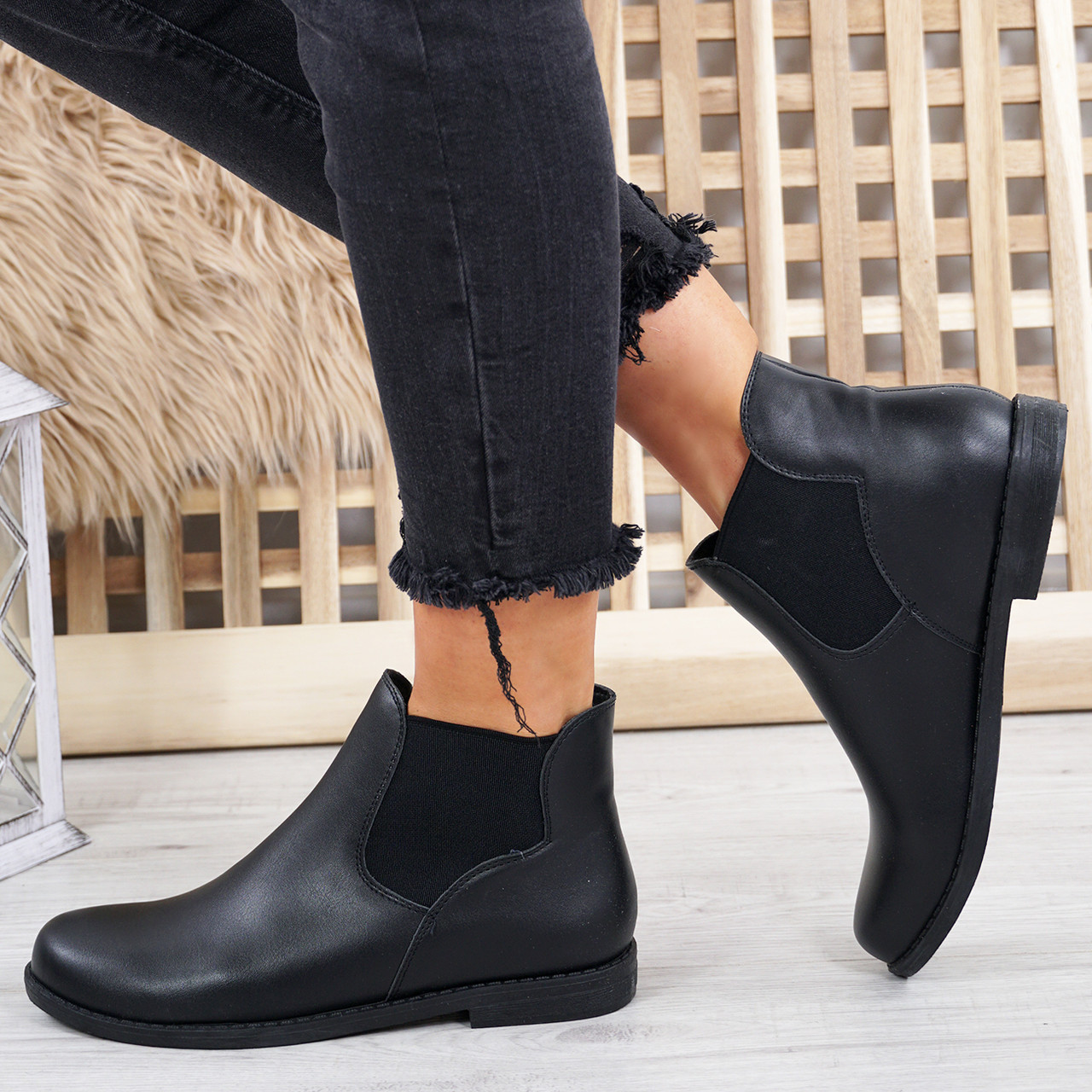 Ladies Women Chelsea Ankle Boots Casual Chunky Block Slip On Low Heel Shoes Size