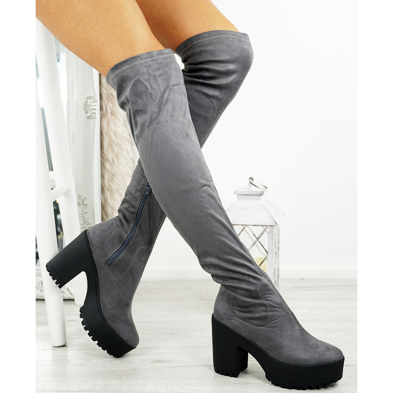 21a71fc3aea4 Womens Ladies Over The Knee Boots Chunky Heel Platform Grip ...