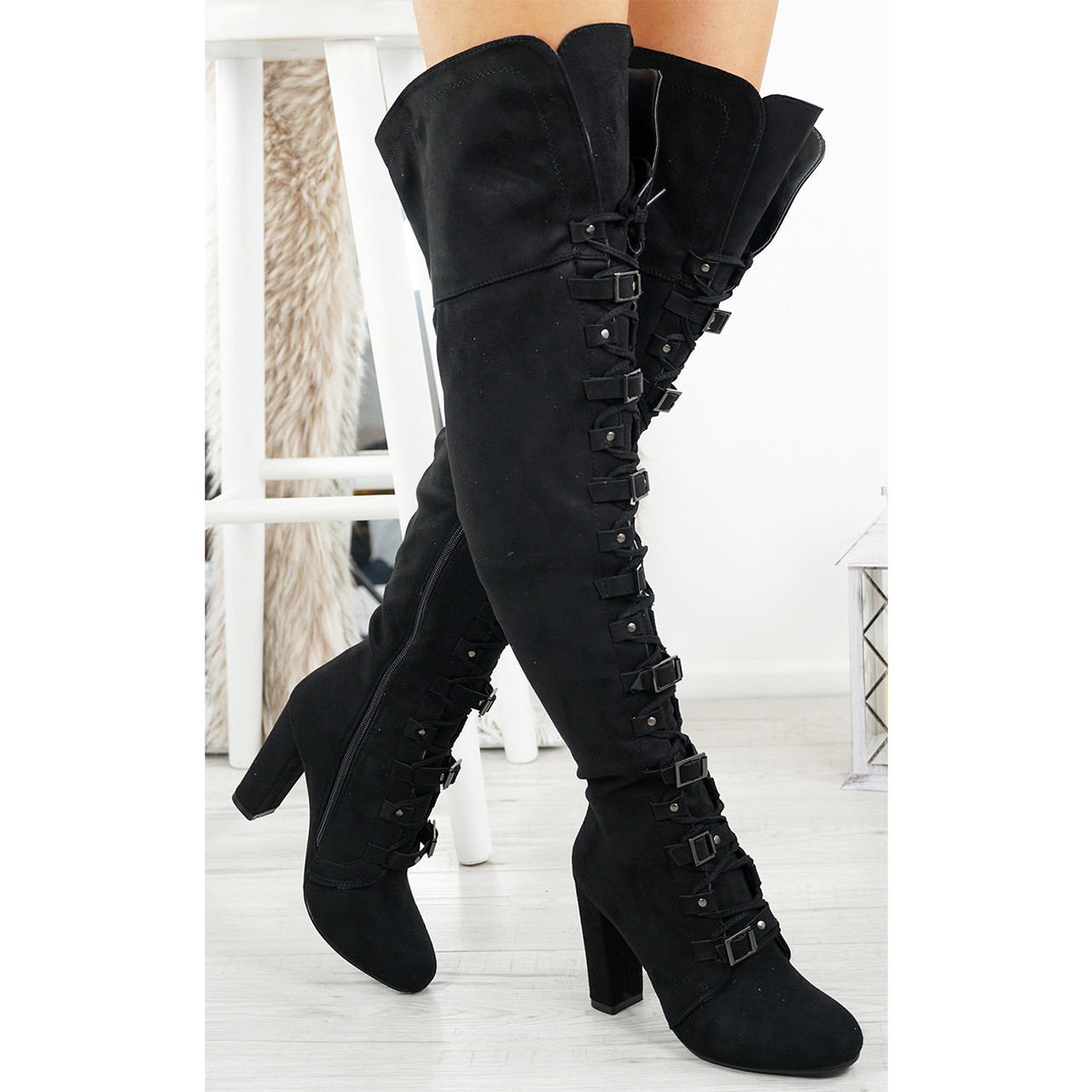 f2d76b078d Womens Ladies Over The Knee Buckle Boots Zip High Block Heel ...