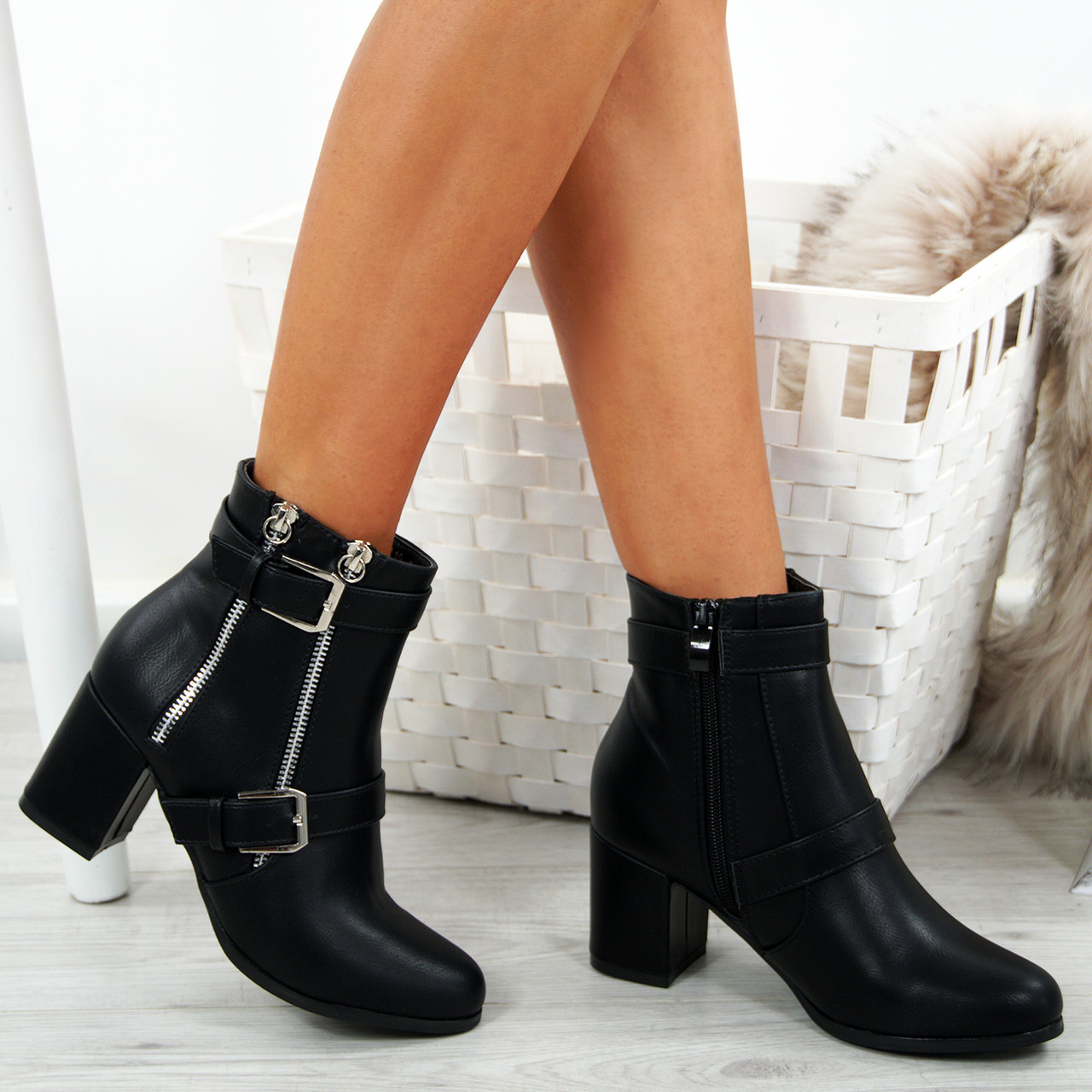 837d273a79c1 Womens Ladies Block Heel Ankle Boots Buckle Double Zip Casual Shoes Size