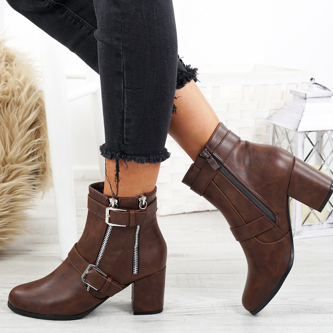 a32840b00c2 Womens Ladies Block Heel Ankle Boots Buckle Double Zip Casual Shoes Size