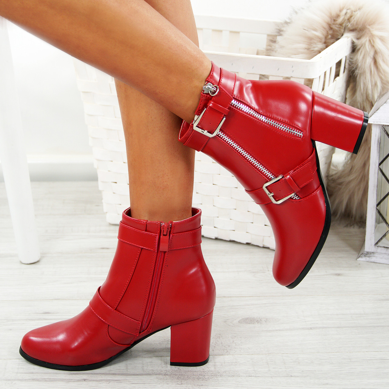 792a9b4a651 Faber Block Heel Red Ankle Boots