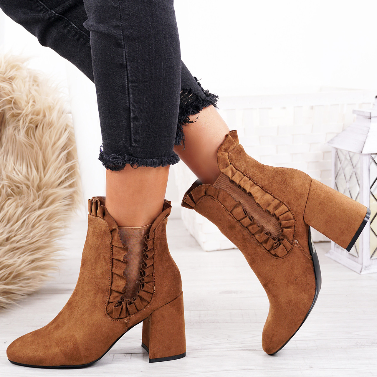 ad870009678d Womens Ladies Ruffle Ankle Boots Mid High Block Heel Chelsea Boot Shoes Size