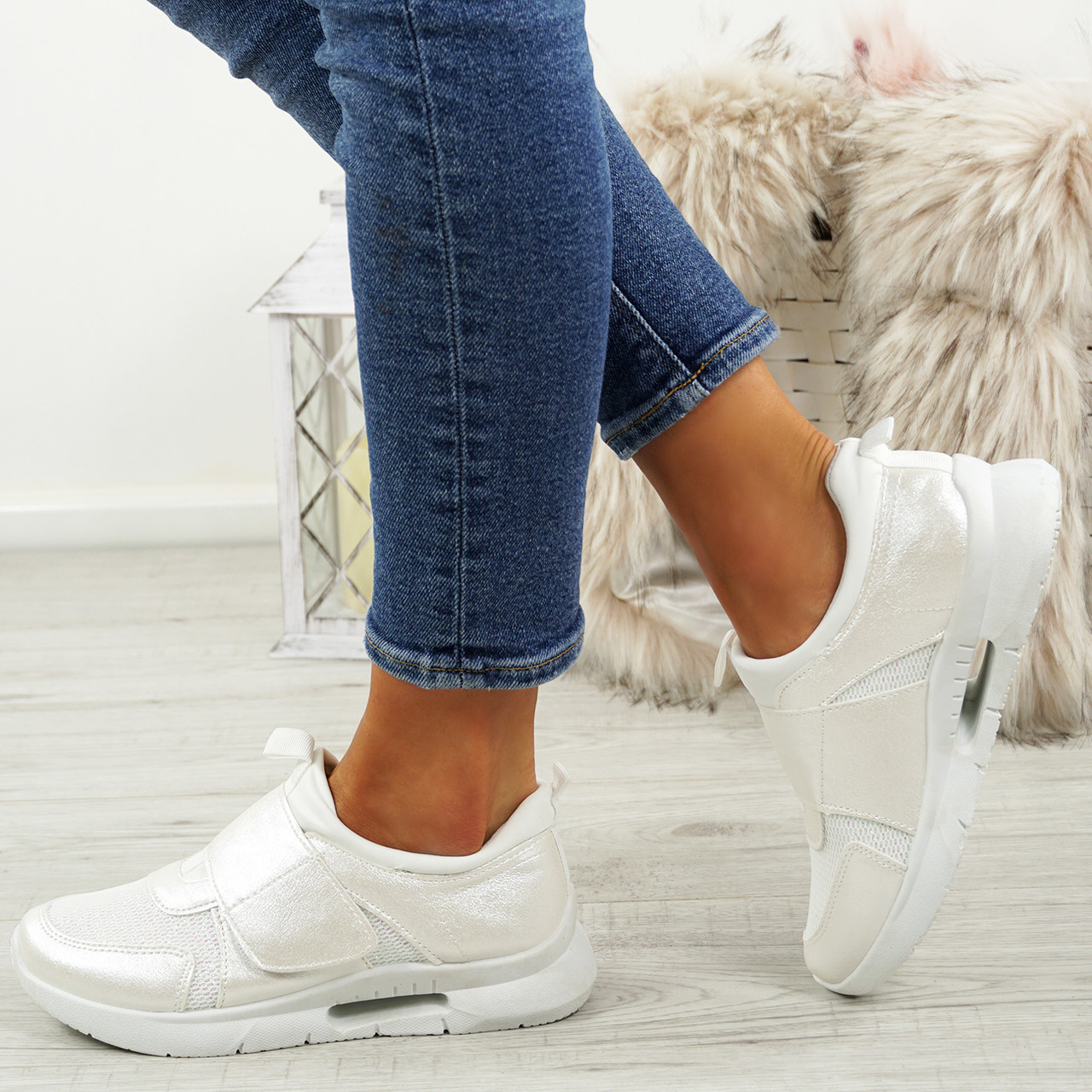 dd243d1cfcd Griley White Shiny Trainers