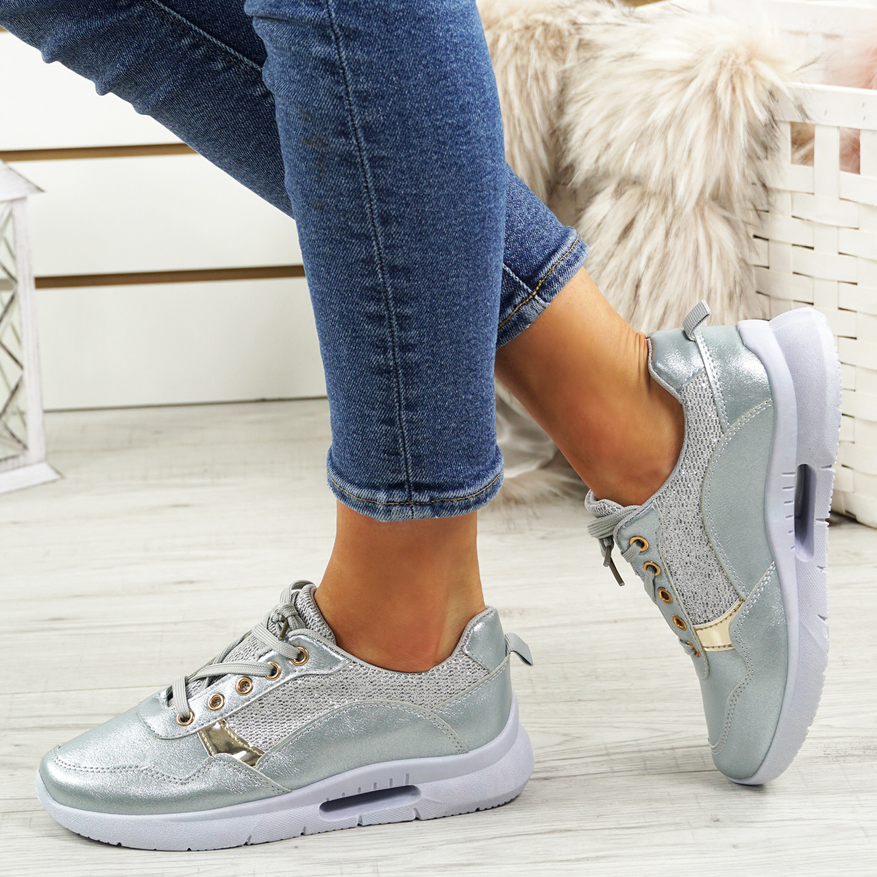 a7cba90b98d Womens Ladies Glitter Trainers Sneakers Fashion Plimsolls Lace Up Shoes Size