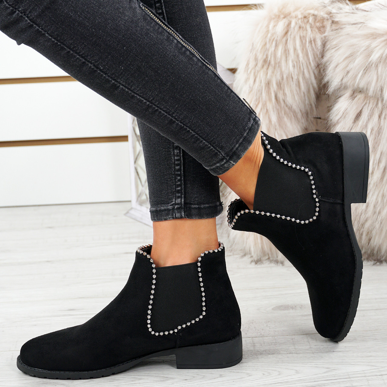 Ladies Faux Suede Low Mid Block Heel Chelsea Ankle Boots Evening Party Shoes