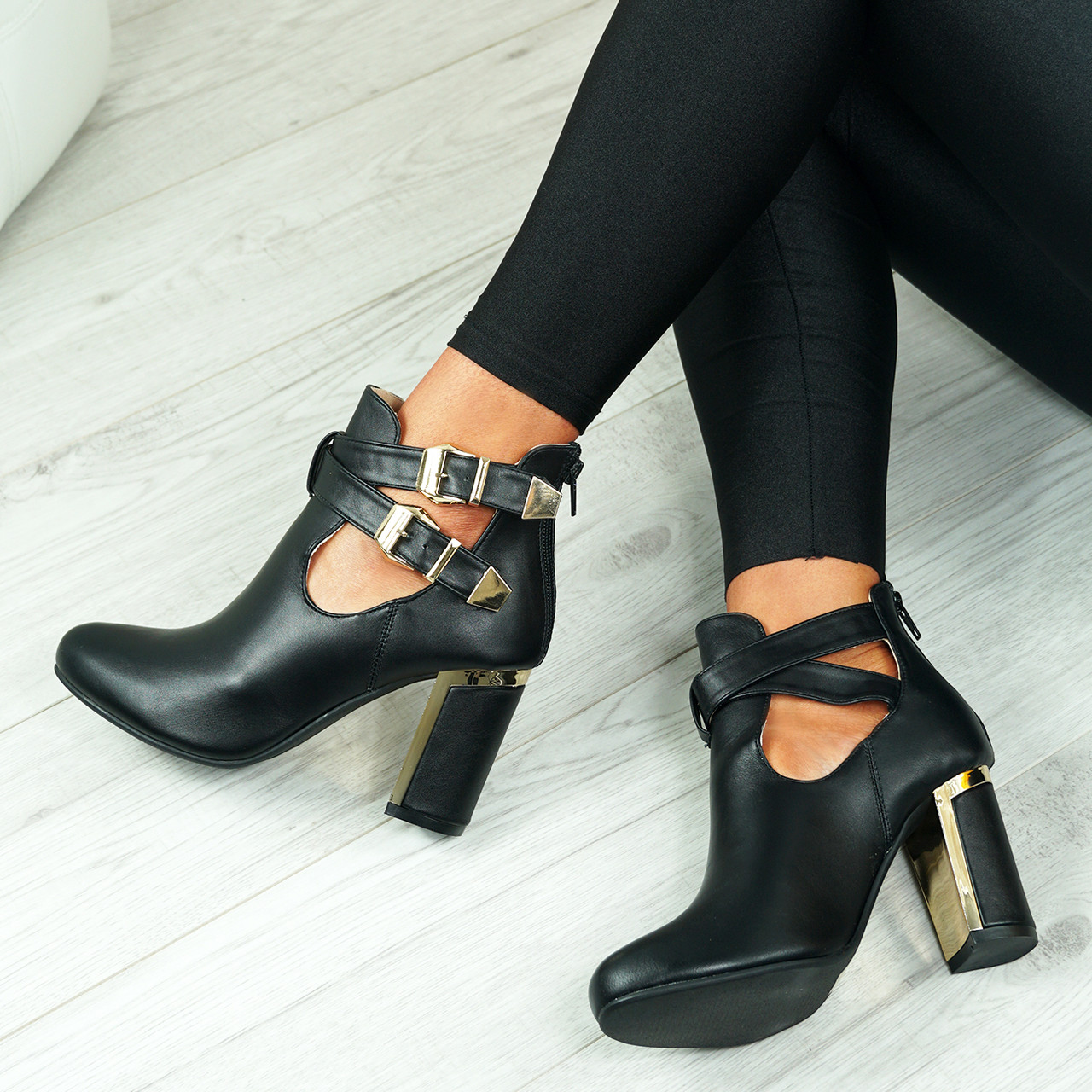 cb001df35b1 Figa Black Cut Out Buckle Ankle Boots