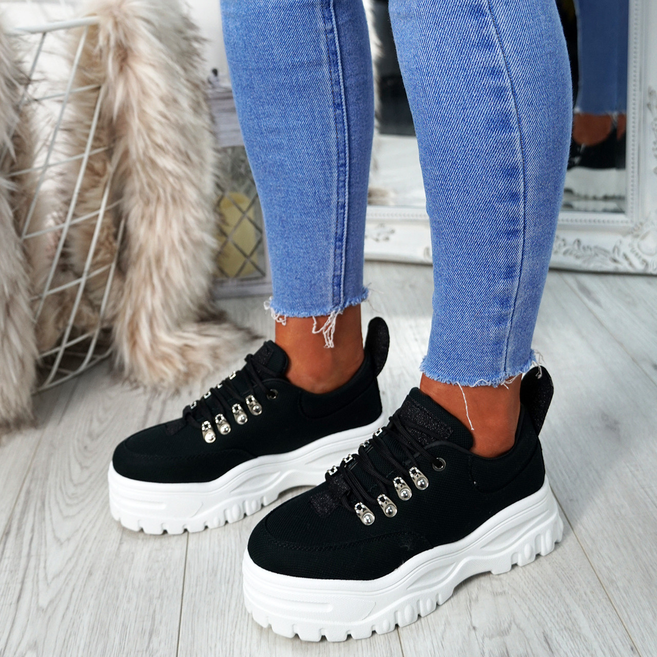 472367f36dc Womens Ladies Platform Trainers Lace Up Sneakers Plimsolls Comfy Fashion  Shoes