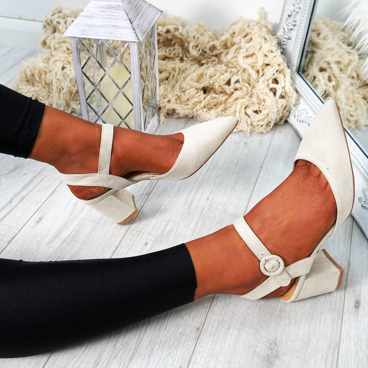 f438c1727b47 Womens Ladies Mid High Block Heel Pointed Pumps Ankle Strap Buckle Shoes  Size