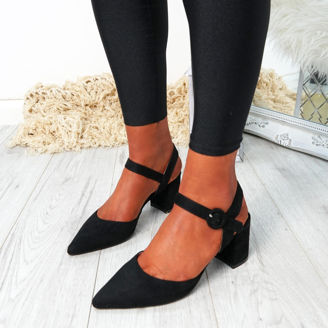 ea3f089d6c68 Womens Ladies Mid High Block Heel Pointed Pumps Ankle Strap Buckle Shoes  Size