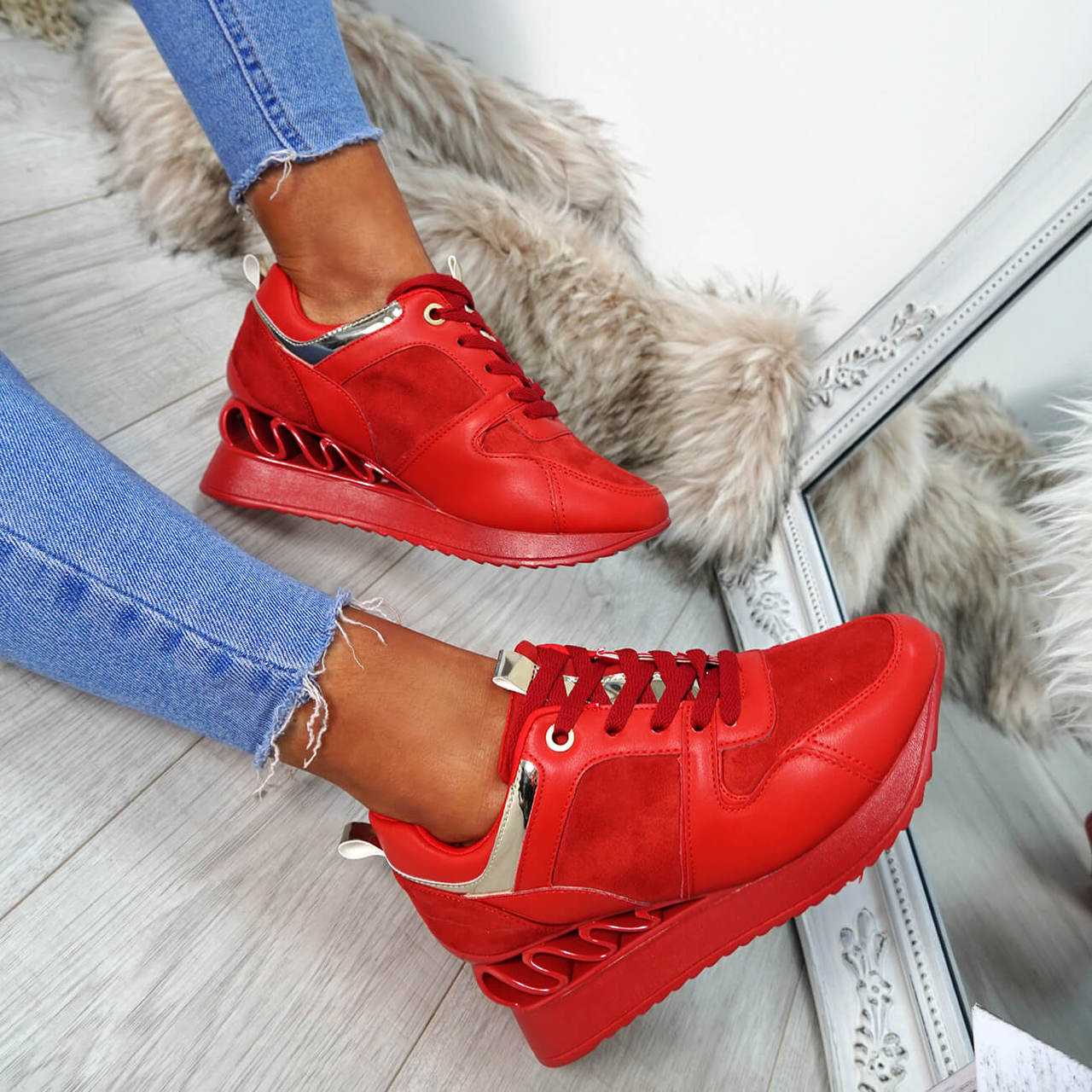 341294bbd758 Womens Ladies Lace Up Chunky Trainers Wedge Fashion Heel Sneakers Shoes Size