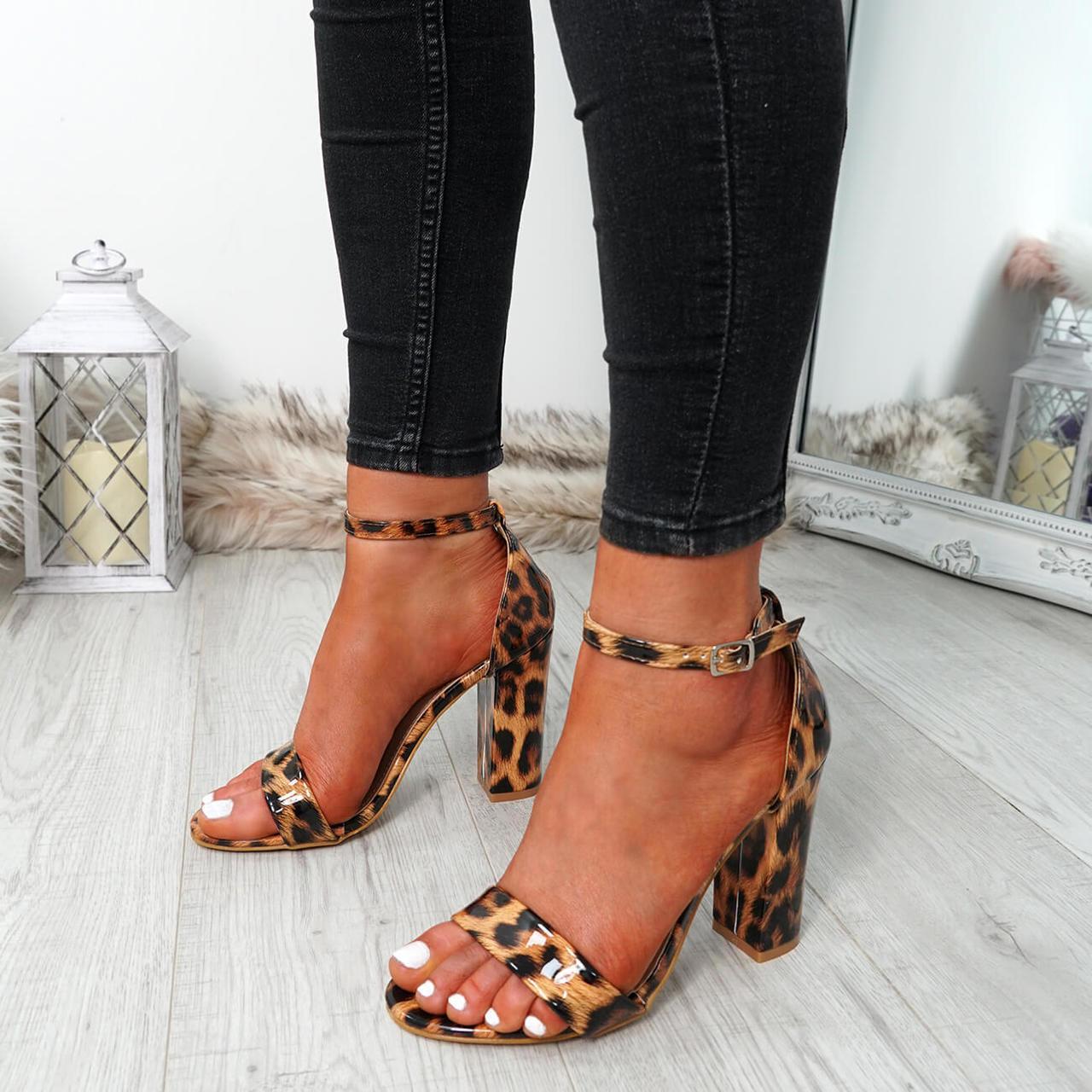 Block Heel Sandals Peep Toe Party Shoes