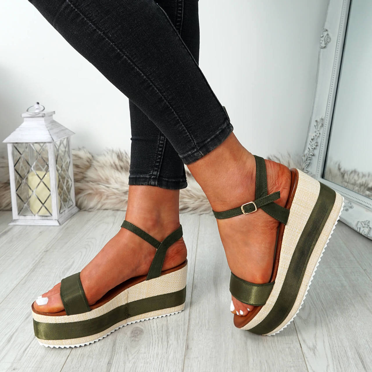 720f76cb024 Womens Ladies Platform Flatforms Sandals Ankle Strap Peep Toe Heels Shoes  Size