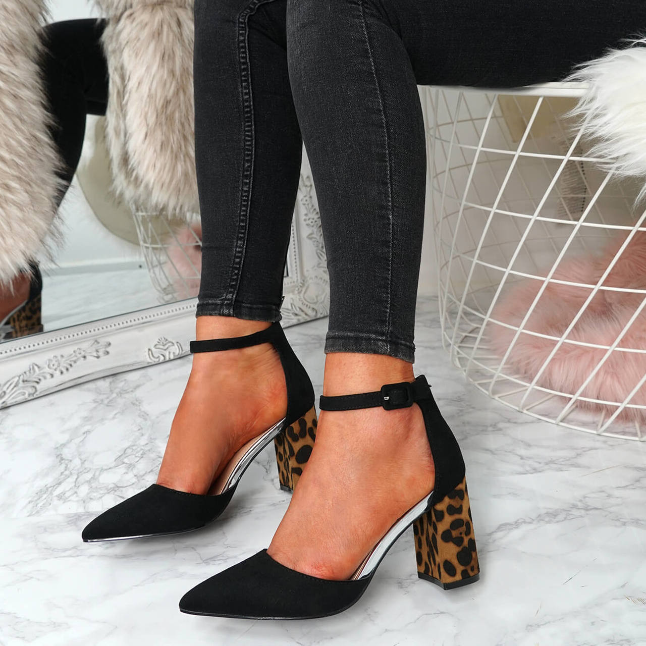 1be4b3c03 Womens Ladies Ankle Strap Block Heel Leopard Pumps Pointed Toe Shoes Size Uk