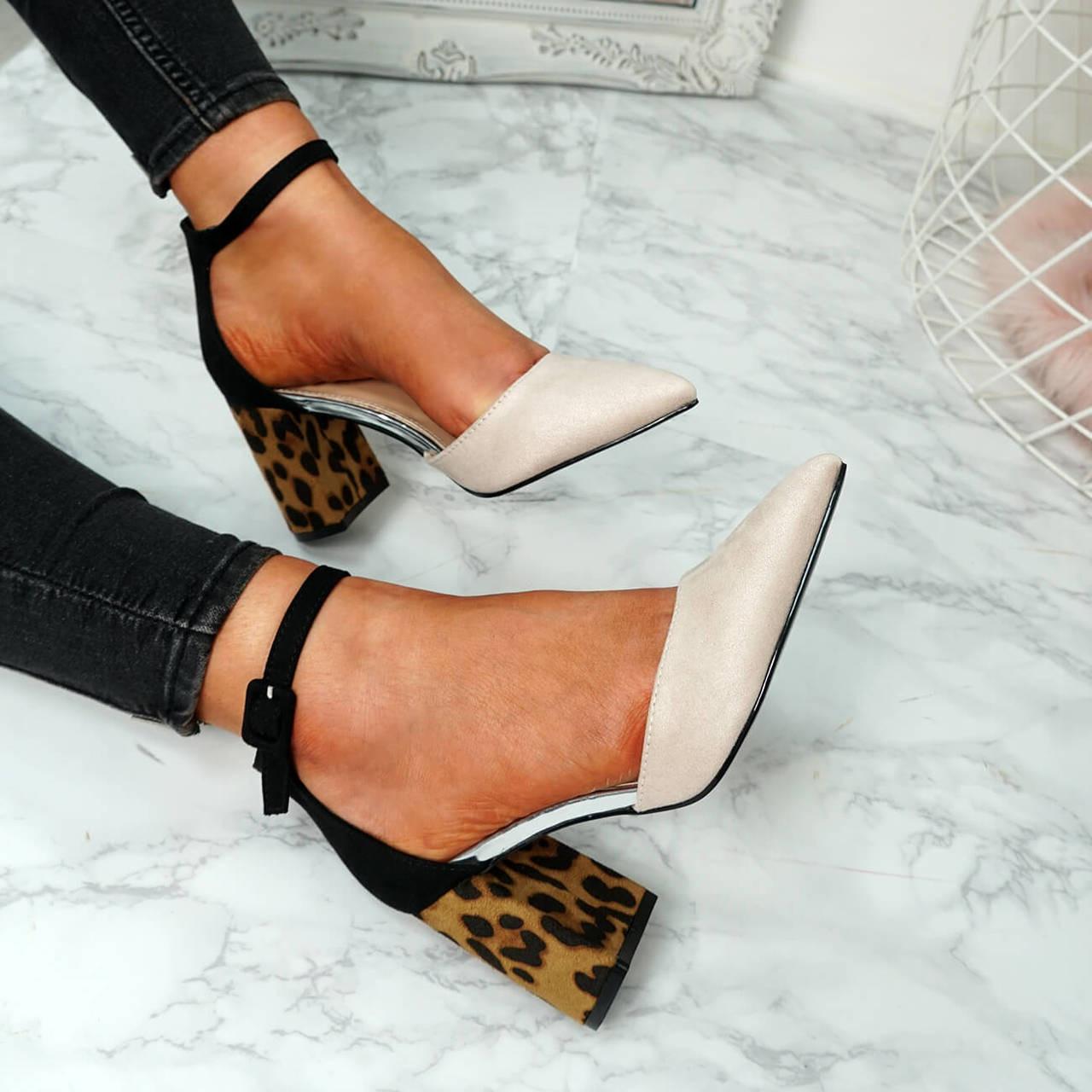 de920013f356 Womens Ladies Ankle Strap Block Heel Leopard Pumps Pointed Toe Shoes Size Uk