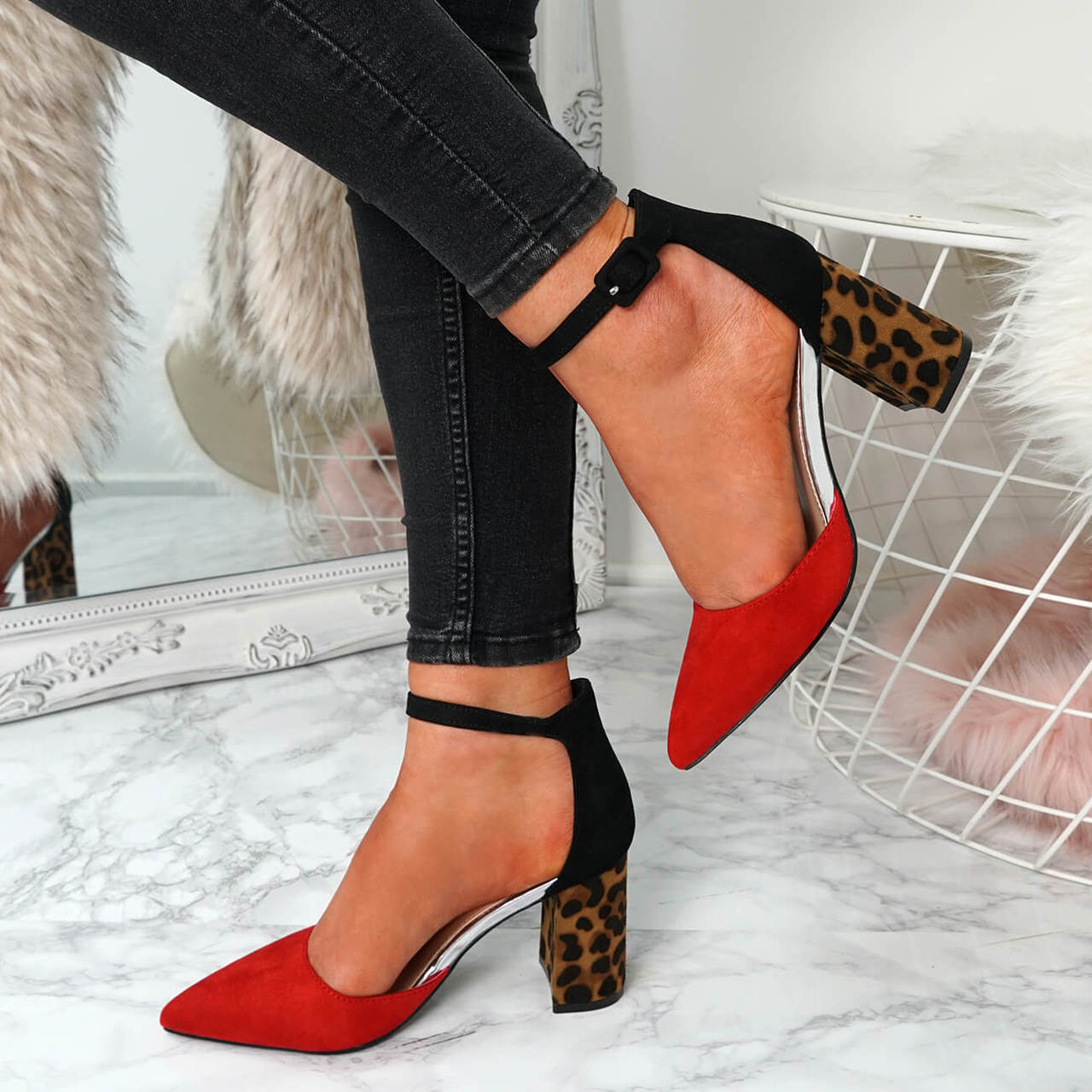 UK Ladies Womens High Block Heel Red Leapard Toe Shoes Size 3 4 5 6 7 8