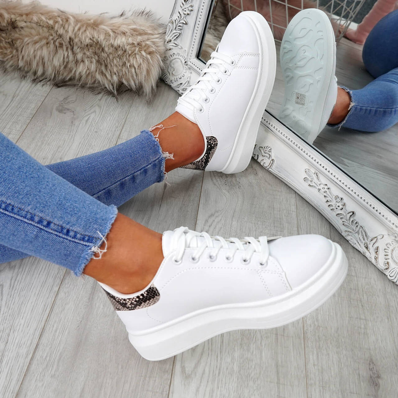 Womens Ladies Lace Up Trainers Skate