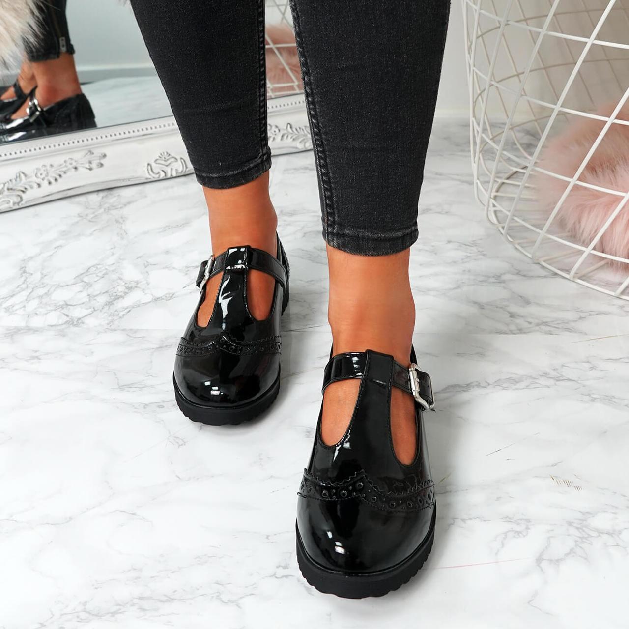 Womens Ladies Black Patent T Bar Loafer