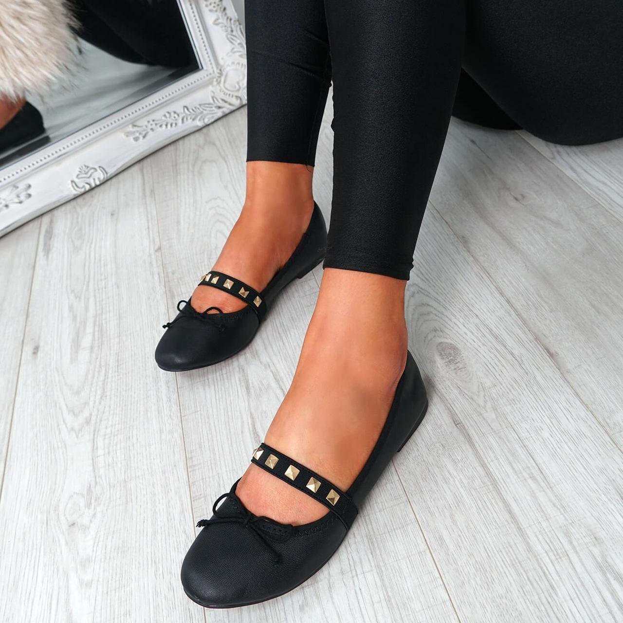 20049873adc0af Womens Ladies Slip On Ballerinas Rhinestone Bow Flat Pumps Shoes Size Uk