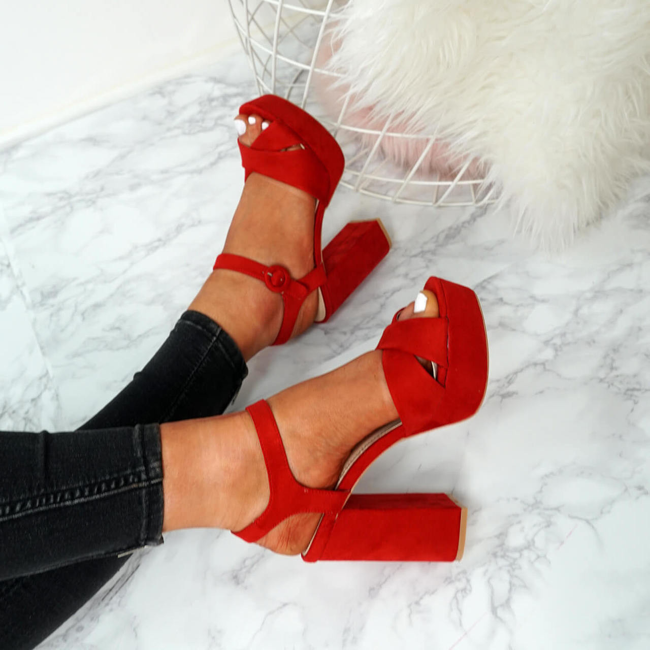 c7f7156692f Tino Red Block Heel Sandals