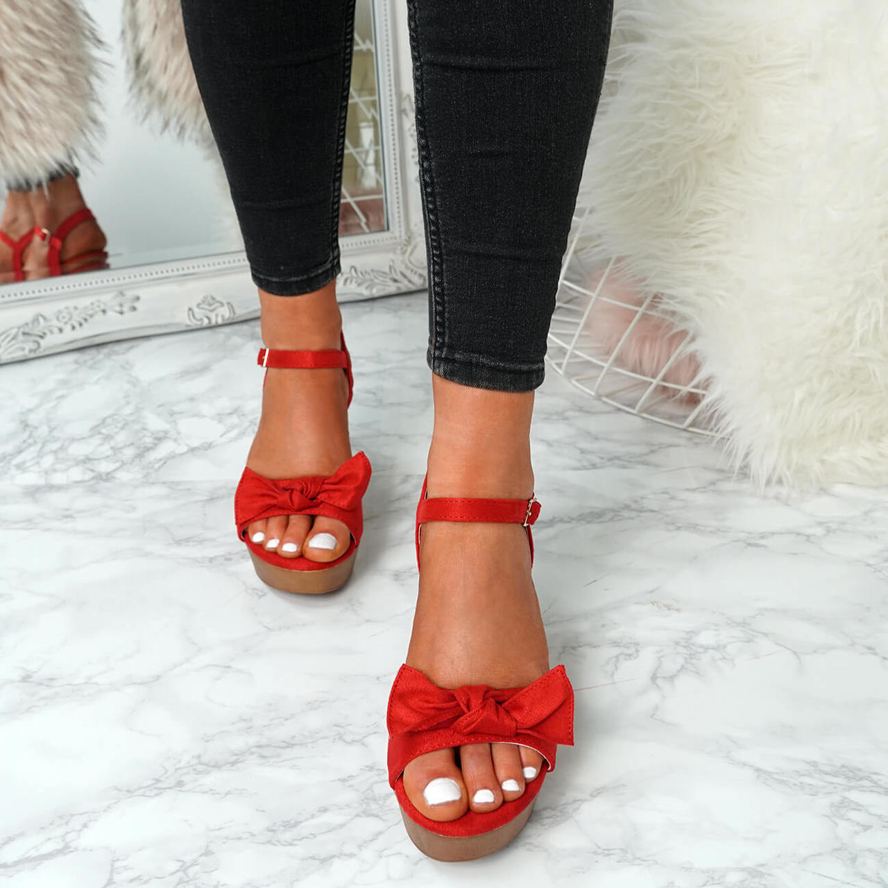 358cd98af1b44 Sita Red Wedge Bow Sandals