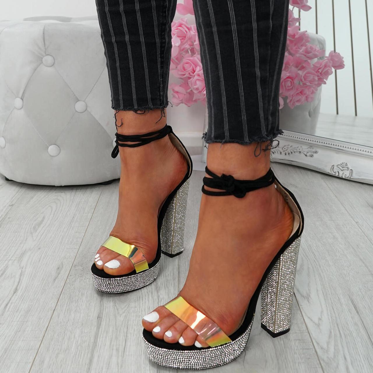 9aa724e141c Womens Ladies Glitter Sparkle Diamante Studs Block Heel Sandals Platforms  Shoes