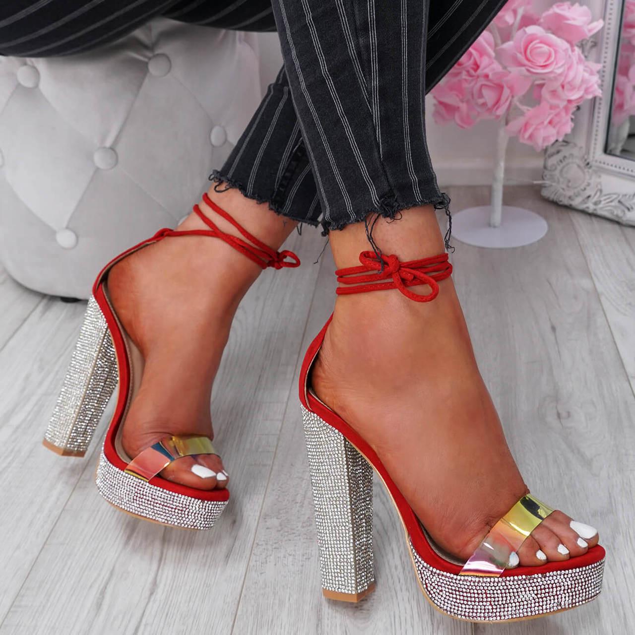 Diamante Studs Block Heel Sandals