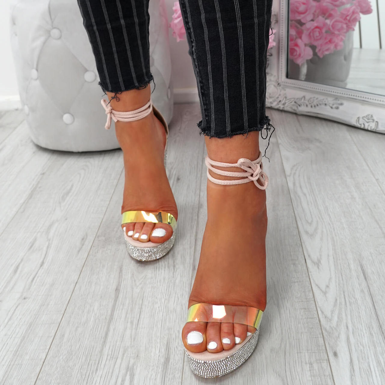 38729ed02a1 Womens Ladies Glitter Sparkle Diamante Studs Block Heel Sandals Platforms  Shoes