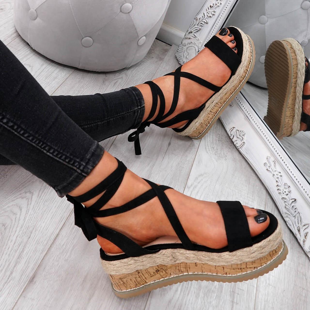 6a136ca90e0 Womens Ladies Ankle Wrap Peep Toe Flatform Sandals Espadrille Summer Shoes  Size