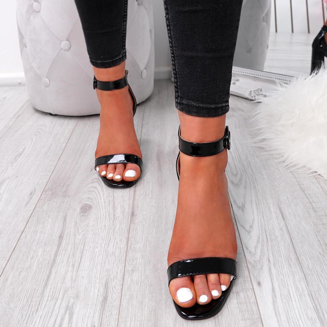 Womens Ladies Ankle Strap Block Heel