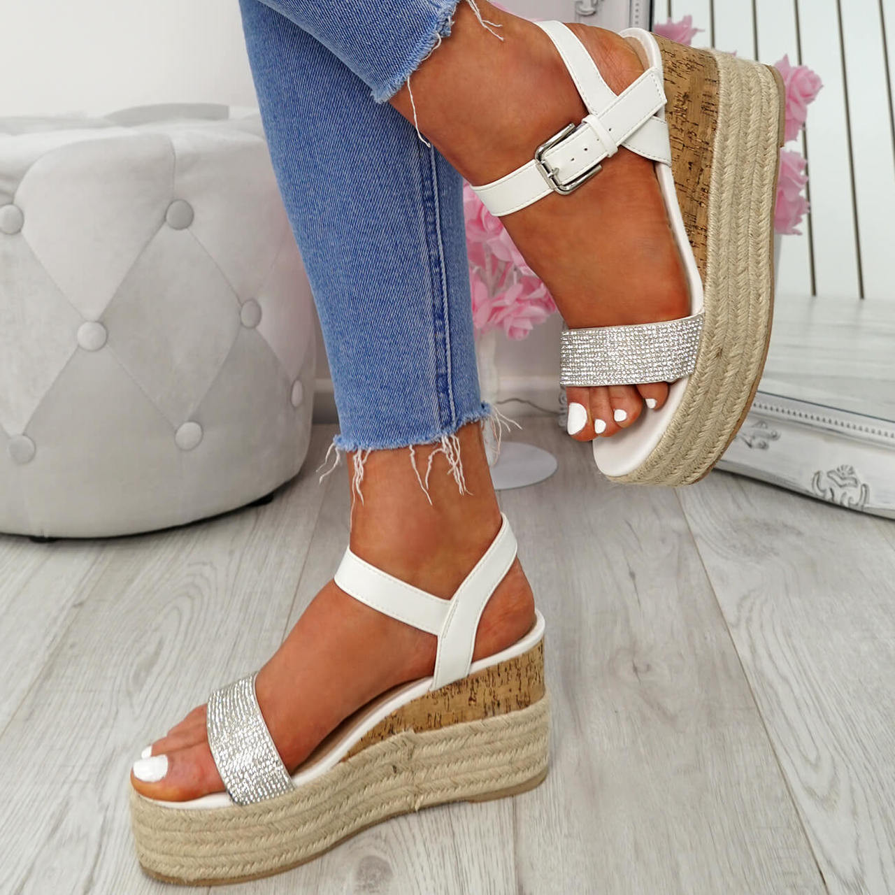 Ladies Mid High Wedge Heel Summer Diamante Ankle Strap Sandals Women Shoes Size