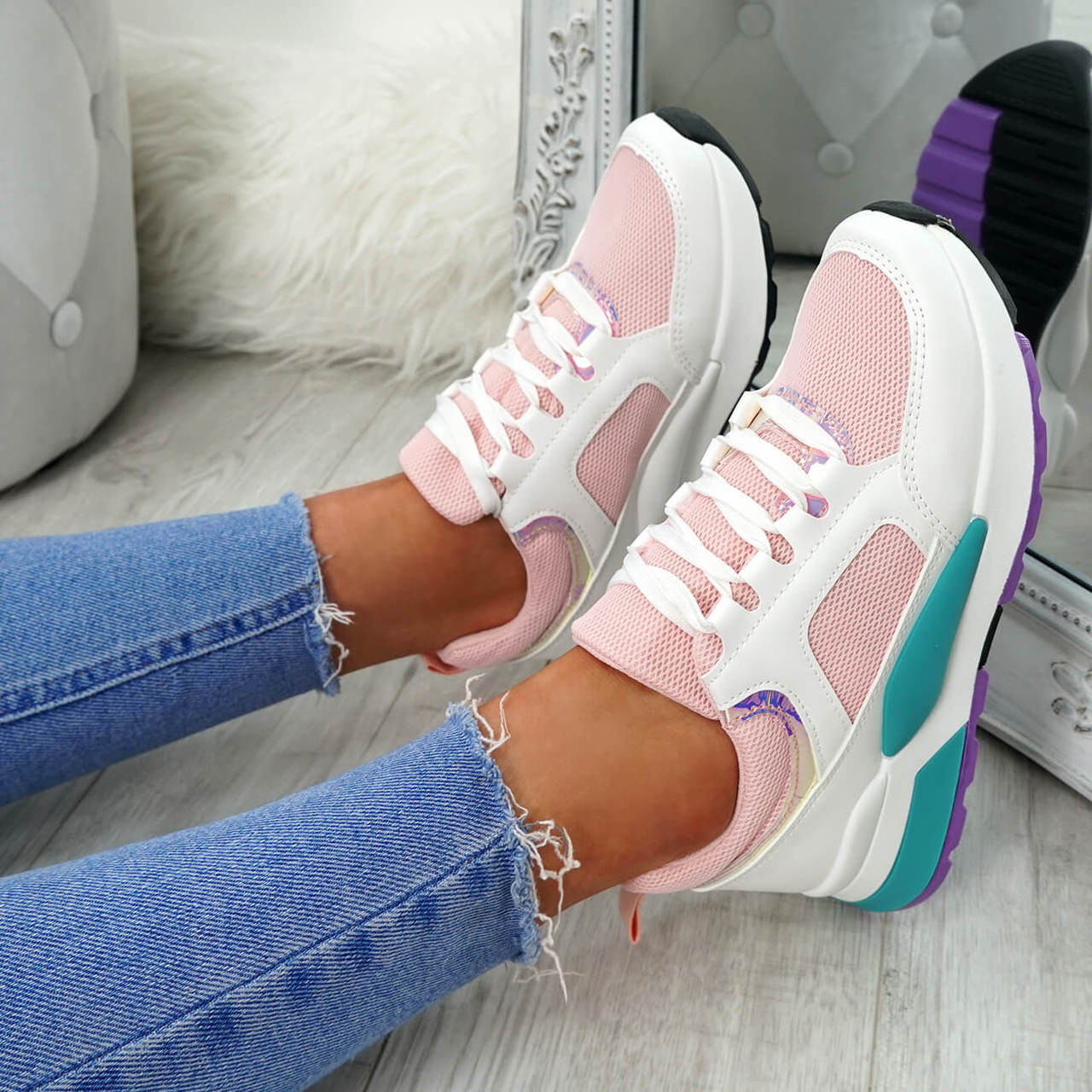 Womens Ladies Lace Up Fashion Trainers