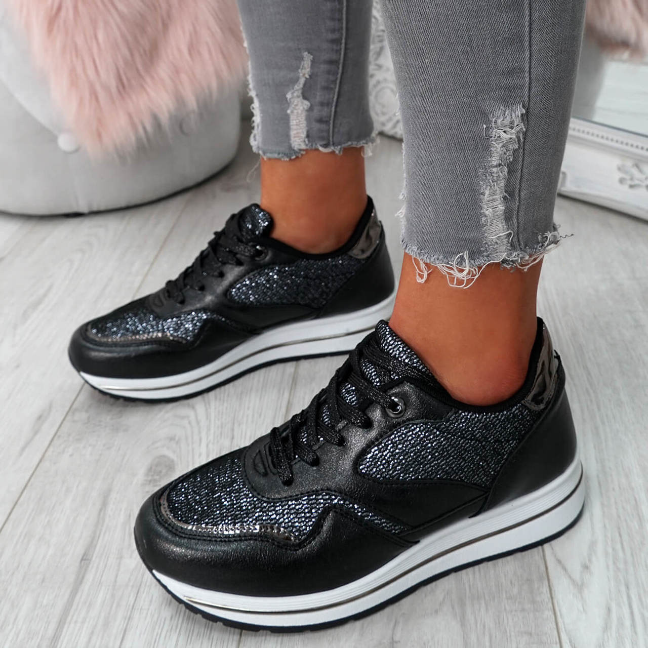 Womens Ladies Lace Up Glitter Trainers