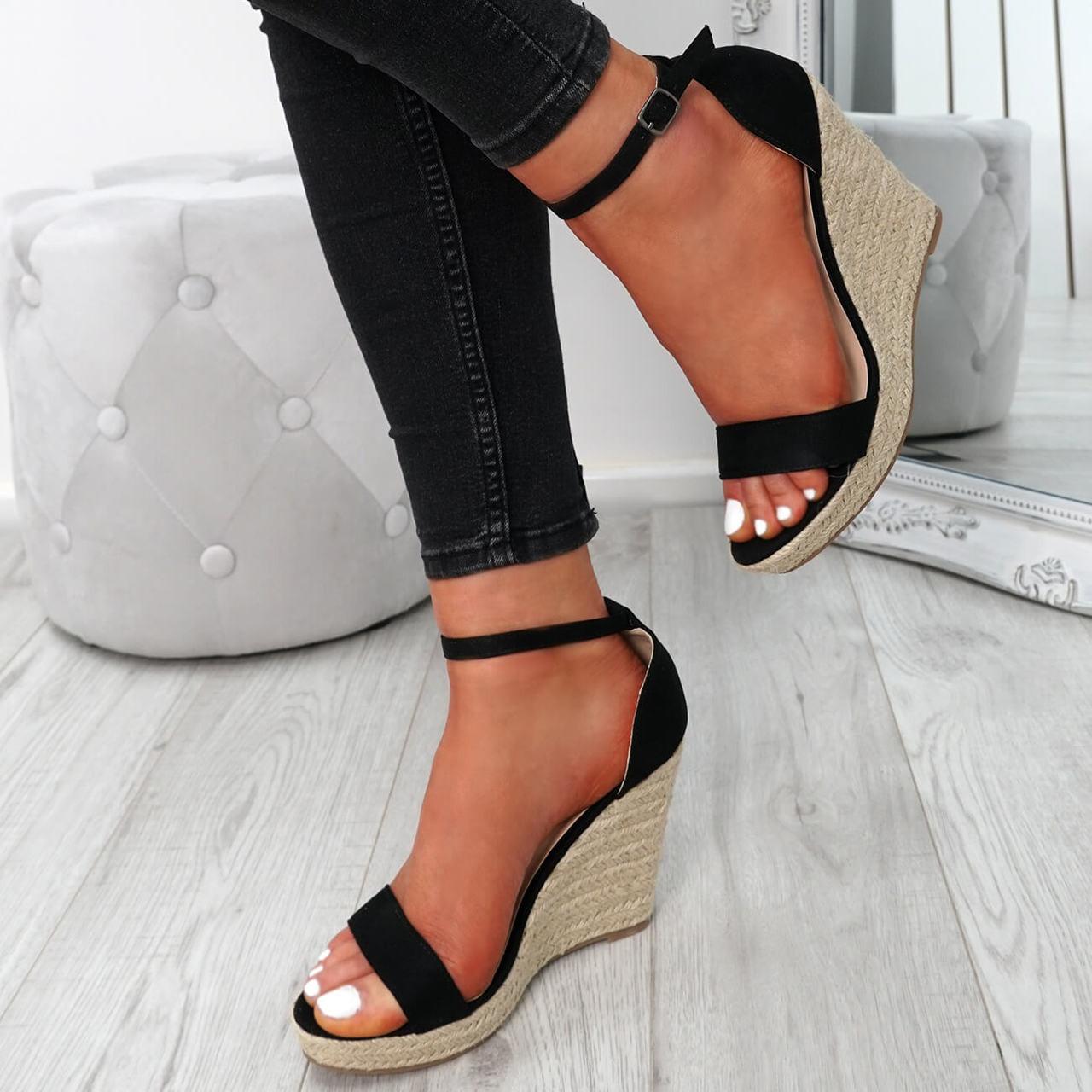 ba86964273f Womens Ladies Ankle Strap Espadrille Wedge Platform Sandals Summer Shoes