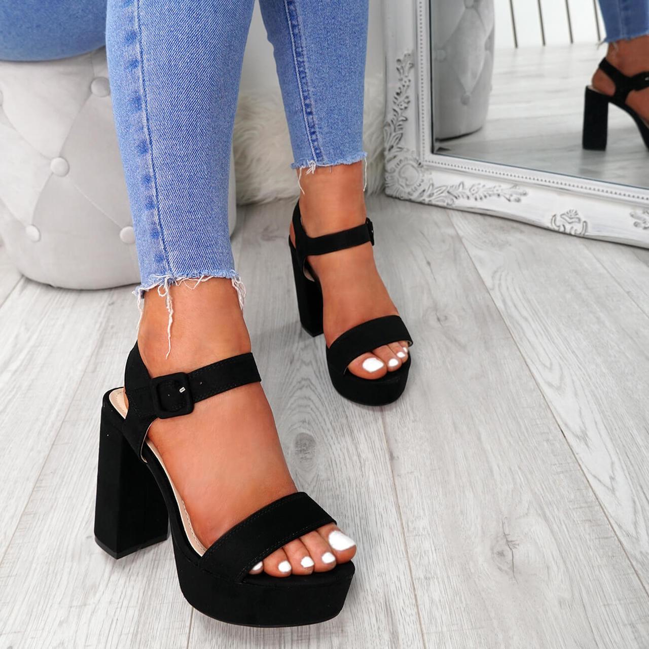 f9c39786a14 Womens Ladies Ankle Strap Buckle Sandals Platform High Block Heel Peep Toe  Shoes