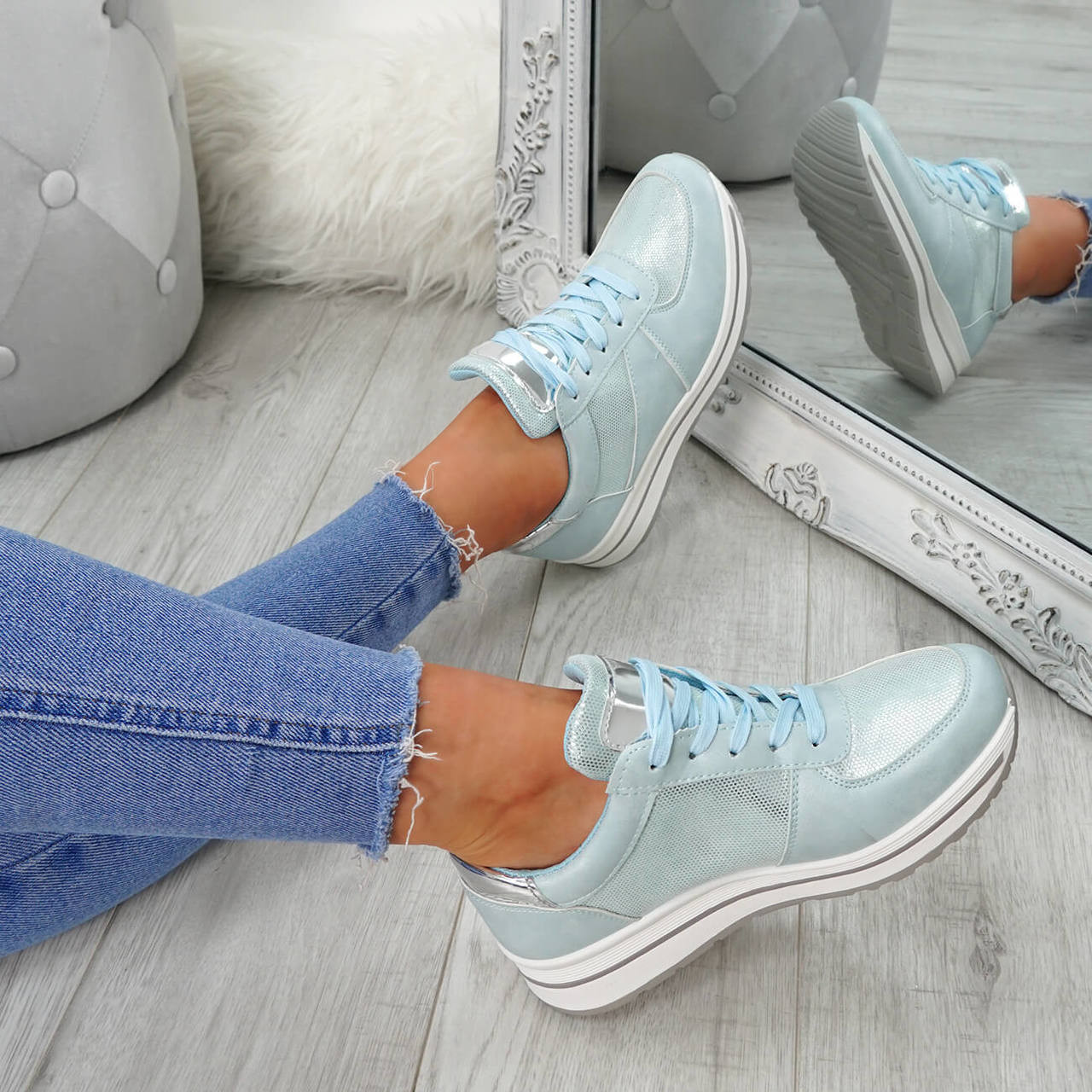 Womens Ladies Lace Up Trainers Fashion