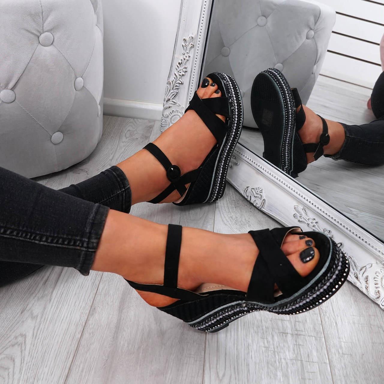 black platform sandal espadrille