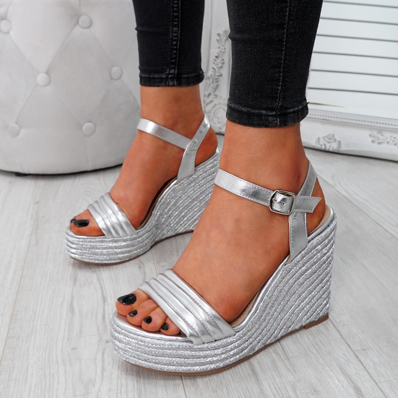 WOMENS LADIES ANKLE STRAP PLATFORM WEDGE HIGH HEEL SANDALS BUCKLE SHOES SIZE