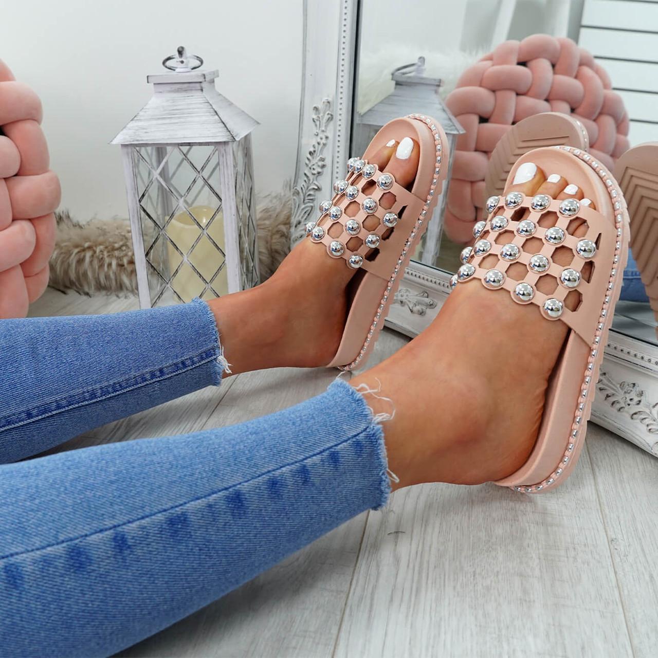 1ee731fed35 New Womens Ladies Slip On Flat Espadrille Ballerina Pearl Studded ...